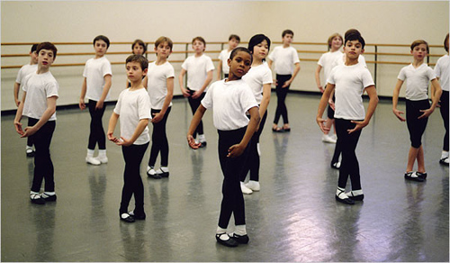 "School of the American Ballet SAB_boys_class.jpg Members of the School of American Ballet's ""Boys II"" class§at the§School of American Ballet. The boys pictured are participants in SAB's tuition-free Boys Program. Photo by Ellen Crane"